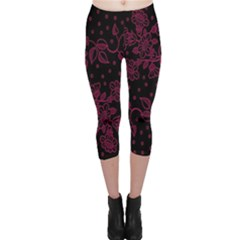 Pink Floral Pattern Background Wallpaper Capri Leggings