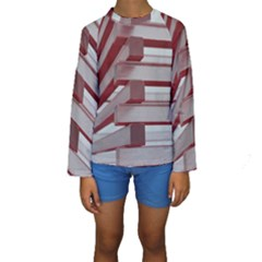 Red Sunglasses Art Abstract Kids  Long Sleeve Swimwear