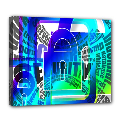 Security Castle Sure Padlock Deluxe Canvas 24  X 20   by Nexatart
