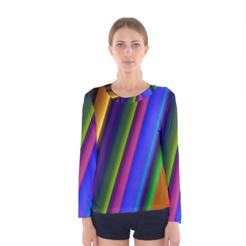 Strip Colorful Pipes Books Color Women s Long Sleeve Tee by Nexatart