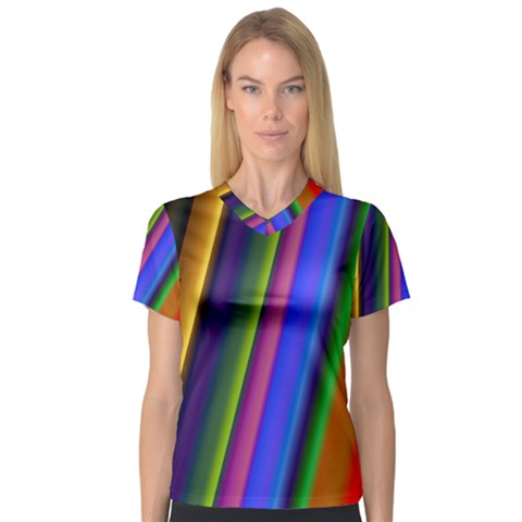 Strip Colorful Pipes Books Color Women s V-neck Sport Mesh Tee by Nexatart