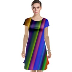 Strip Colorful Pipes Books Color Cap Sleeve Nightdress by Nexatart
