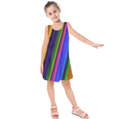 Strip Colorful Pipes Books Color Kids  Sleeveless Dress by Nexatart