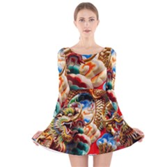 Thailand Bangkok Temple Roof Asia Long Sleeve Velvet Skater Dress