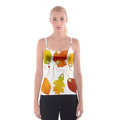 Vector Beautiful Maple Leaf Spaghetti Strap Top