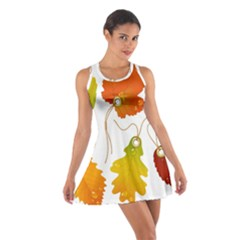Vector Beautiful Maple Leaf Cotton Racerback Dress by Nexatart