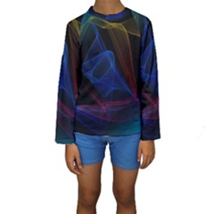 Lines Rays Background Light Pattern Kids  Long Sleeve Swimwear