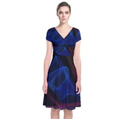 Lines Rays Background Light Pattern Short Sleeve Front Wrap Dress by Nexatart