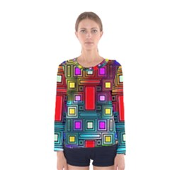 Art Rectangles Abstract Modern Art Women s Long Sleeve Tee by Nexatart