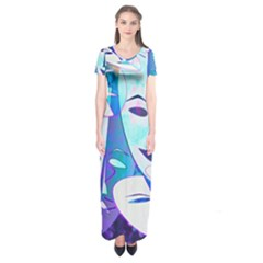 Abstract Mask Artwork Digital Art Short Sleeve Maxi Dress