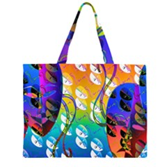 Abstract Mask Artwork Digital Art Zipper Large Tote Bag by Nexatart