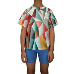 Abstracts Colour Kids  Short Sleeve Swimwear