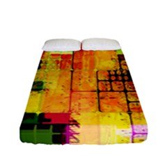 Abstract Squares Background Pattern Fitted Sheet (full/ Double Size)