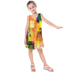 Abstract Squares Background Pattern Kids  Sleeveless Dress by Nexatart