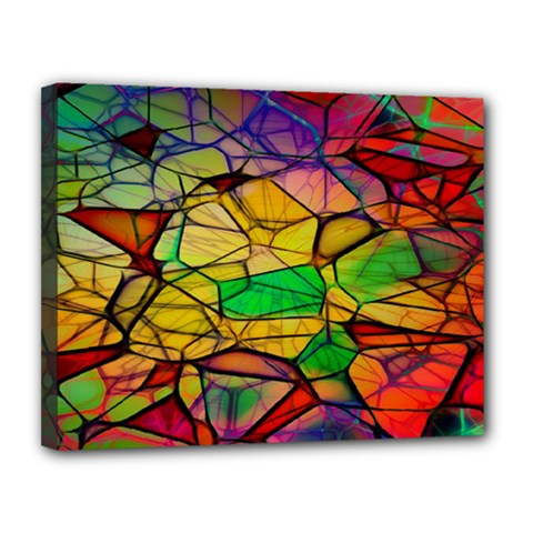 Abstract Squares Triangle Polygon Canvas 14  X 11  by Nexatart