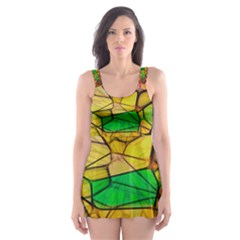 Abstract Squares Triangle Polygon Skater Dress Swimsuit
