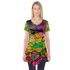 Abstract Squares Triangle Polygon Short Sleeve Tunic  by Nexatart