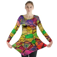 Abstract Squares Triangle Polygon Long Sleeve Tunic