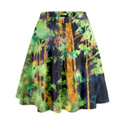 Abstract Trees Flowers Landscape High Waist Skirt