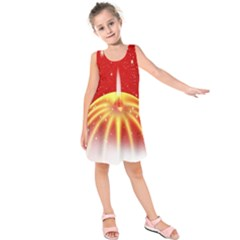 Advent Candle Star Christmas Kids  Sleeveless Dress