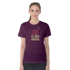 Purple Love Is The Answer Women s Cotton Tee