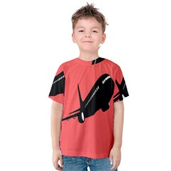 Air Plane Boeing Red Black Fly Kids  Cotton Tee