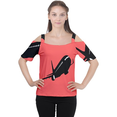 Air Plane Boeing Red Black Fly Women s Cutout Shoulder Tee by Alisyart