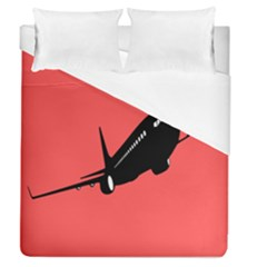 Air Plane Boeing Red Black Fly Duvet Cover (queen Size) by Alisyart
