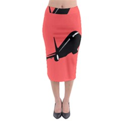 Air Plane Boeing Red Black Fly Midi Pencil Skirt