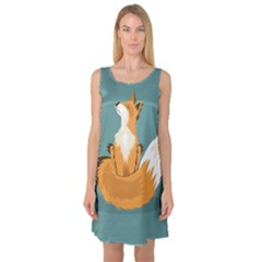 Animal Wolf Orange Fox Sleeveless Satin Nightdress