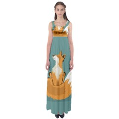 Animal Wolf Orange Fox Empire Waist Maxi Dress