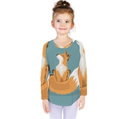 Animal Wolf Orange Fox Kids  Long Sleeve Tee