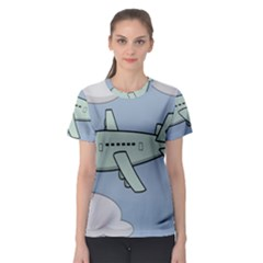 Airplane Fly Cloud Blue Sky Plane Jpeg Women s Sport Mesh Tee by Alisyart