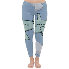 Airplane Fly Cloud Blue Sky Plane Jpeg Classic Winter Leggings