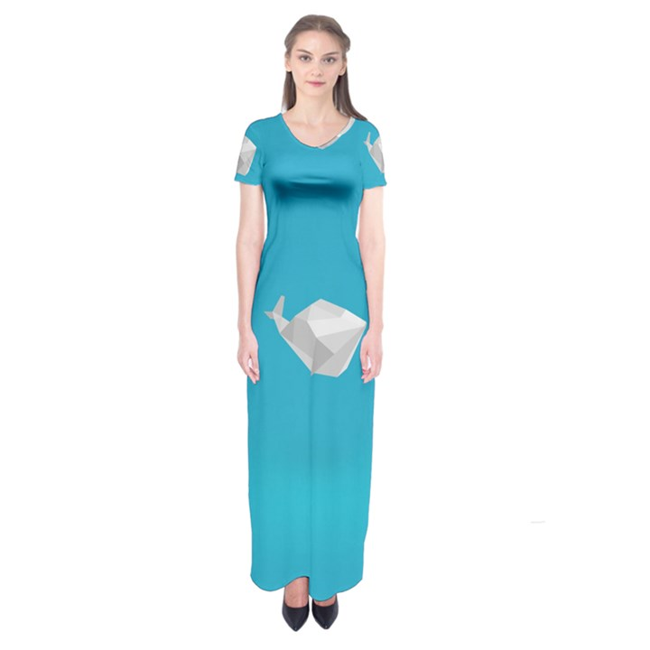 Animals Whale Blue Origami Water Sea Beach Short Sleeve Maxi Dress