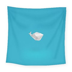 Animals Whale Blue Origami Water Sea Beach Square Tapestry (large) by Alisyart
