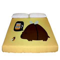 Bear Meet Bee Honey Animals Yellow Brown Fitted Sheet (california King Size)