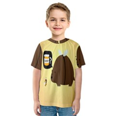 Bear Meet Bee Honey Animals Yellow Brown Kids  Sport Mesh Tee