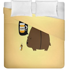 Bear Meet Bee Honey Animals Yellow Brown Duvet Cover Double Side (king Size) by Alisyart