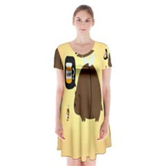 Bear Meet Bee Honey Animals Yellow Brown Short Sleeve V-neck Flare Dress