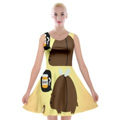 Bear Meet Bee Honey Animals Yellow Brown Velvet Skater Dress