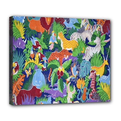Animated Safari Animals Background Deluxe Canvas 24  X 20   by Nexatart