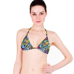 Animated Safari Animals Background Bikini Top