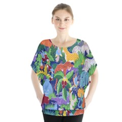 Animated Safari Animals Background Blouse by Nexatart