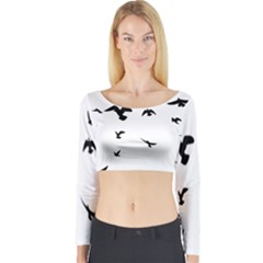 Bird Fly Black Long Sleeve Crop Top