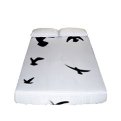 Bird Fly Black Fitted Sheet (full/ Double Size)