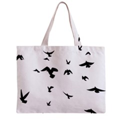 Bird Fly Black Zipper Mini Tote Bag