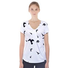 Bird Fly Black Short Sleeve Front Detail Top