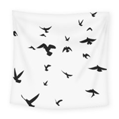 Bird Fly Black Square Tapestry (large)
