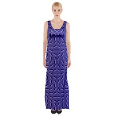 Calm Wave Blue Flag Maxi Thigh Split Dress
